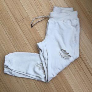 Drawstring beige sweatpants